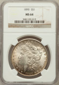 Morgan Dollars: , 1890 $1 MS64 NGC. NGC Census: (4041/306). PCGS Population(3486/395). Mintage: 16,802,590. Numismedia Wsl. Price forproble...