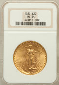 Saint-Gaudens Double Eagles: , 1924 $20 MS64 NGC. NGC Census: (100963/36915). PCGS Population(81017/47437). Mintage: 4,323,500. Numismedia Wsl. Price for...