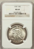 Walking Liberty Half Dollars: , 1939 50C MS64 NGC. NGC Census: (725/2149). PCGS Population(1293/2939). Mintage: 6,820,808. Numismedia Wsl. Price for probl...