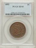Large Cents: , 1852 1C XF45 PCGS. PCGS Population (61/582). NGC Census: (31/828).Mintage: 5,063,094. Numismedia Wsl. Price for problem fr...