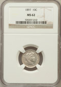 Barber Dimes: , 1897 10C MS62 NGC. NGC Census: (61/259). PCGS Population (66/268).Mintage: 10,869,264. Numismedia Wsl. Price for problem f...