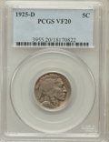 Buffalo Nickels: , 1925-D 5C VF20 PCGS. PCGS Population (30/927). NGC Census:(22/655). Mintage: 4,450,000. Numismedia Wsl. Price for problem ...