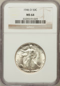 Walking Liberty Half Dollars: , 1946-D 50C MS64 NGC. NGC Census: (3061/8666). PCGS Population(6241/10875). Mintage: 2,151,000. Numismedia Wsl. Price for p...