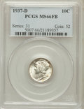 Mercury Dimes: , 1937-D 10C MS66 Full Bands PCGS. PCGS Population (554/220). NGCCensus: (282/148). Mintage: 14,146,000. Numismedia Wsl. Pri...
