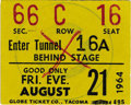 Music Memorabilia:Tickets, Beatles 1964 Washington Coliseum Concert Stub. A used ticket stub to their August 21, 1964 performance in Seattle, Washingto... (Total: 1 Item)