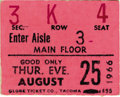 Music Memorabilia:Tickets, Beatles Seattle Center Coliseum Concert Ticket Stub. A stub from the band's August 25, 1966, afternoon concert in Seattle, o... (Total: 1 Item)
