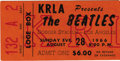 Music Memorabilia:Tickets, The Beatles Dodger Stadium Concert Ticket Stub. An original concertticket stub for The Beatles' appearance on August 28, 19... (Total:1 Item)