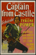"Movie Posters:Adventure, Captain from Castile (20th Century Fox, 1947). One Sheet (27"" X41""). Adventure. Starring Tyrone Power, Jean Peters, Cesar R..."
