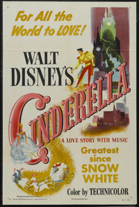 "Cinderella (RKO, 1950). One Sheet (27"" X 41""). Animated Musical. Starring the voices of Ilene Woods, Verna Fel..."