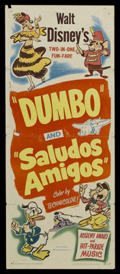 """Dumbo/Saludos Amigos Combo (RKO, R-1949). Insert (14"""" X 36""""). Animated. Starring the voices of John McLeish, M..."""