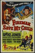 "Movie Posters:Comedy, Fireman Save My Child (Universal, 1954). One Sheet (27"" X 41""). Comedy. Starring Spike Jones and His City Slickers, Hugh O'B..."