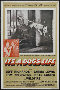 "It's a Dog's Life (MGM, 1955). One Sheet (27"" X 41""). Family. Starring Jeff Richards, Jarma Lewis, Edmund Gwen..."
