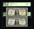 Small Size:World War II Emergency Notes, A Pair of Fr. 2306 $1 1935A North Africa Silver Certificates. PCGS Gem New 65PPQ and PCGS Very Choice New 64.. ... (Total: 2 notes)