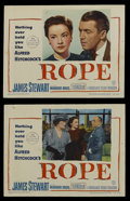 "Movie Posters:Hitchcock, Rope (Warner Brothers, 1948). Lobby Cards (2) (11"" X 14"").Thriller. Directed by Alfred Hitchcock. Starring James Stewart,J... (Total: 2 Items)"