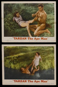 "Movie Posters:Adventure, Tarzan the Ape Man (MGM, R-1954). Lobby Cards (2) (11"" X 14"").Action Adventure. Starring Johnny Weissmuller, Maureen O'Sull...(Total: 2 Items)"