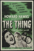 "Movie Posters:Science Fiction, The Thing From Another World (RKO, R-1954). One Sheet (27"" X 41"").Sci-Fi Horror. Starring Margaret Sheridan, Kenneth Tobey,..."