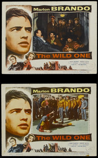 "The Wild One (Columbia, 1953). Lobby Cards (2) (11"" X 14""). Drama. Starring Marlon Brando, Mary Murphy, Robert..."