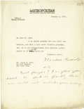 """Autographs:U.S. Presidents, Former President Theodore Roosevelt Typed Letter Signed With Endorsement, one page on Metropolitan letterhead, 8.5"""" x 11..."""