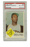 Baseball Cards:Singles (1960-1969), 1963 Fleer Roberto Clemente #56 PSA NM-MT 8. Close to pack-freshcard pictures the heroic Hall of Fame Pirate....
