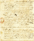 "Military & Patriotic:Revolutionary War, (American Revolution) William Henshaw Autograph Letter Signed, twopages, 6"" x 7.25"", Boston, March, 13, 1778, to Major Litt..."