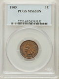 Indian Cents: , 1905 1C MS63 Brown PCGS. PCGS Population (66/91). NGC Census:(70/128). Mintage: 80,719,160. Numismedia Wsl. Price for prob...