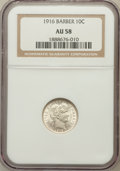 Barber Dimes: , 1916 10C AU58 NGC. NGC Census: (84/957). PCGS Population(116/1101). Mintage: 18,490,000. Numismedia Wsl. Price forproblem...