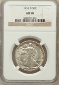 Walking Liberty Half Dollars: , 1916-D 50C AU58 NGC. NGC Census: (160/1071). PCGS Population(222/1312). Mintage: 1,014,400. Numismedia Wsl. Price for prob...