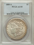 Morgan Dollars: , 1889-S $1 AU55 PCGS. PCGS Population (309/7186). NGC Census:(270/4524). Mintage: 700,000. Numismedia Wsl. Price for proble...