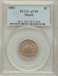 Shield Nickels: , 1883 5C AU58 PCGS. PCGS Population (238/1533). NGC Census:(114/1351). Mintage: 1,456,919. Numismedia Wsl. Price for proble...