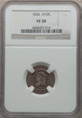 Bust Half Dimes: , 1836 H10C Large 5C VF30 NGC. NGC Census: (8/342). PCGS Population(7/260). Mintage: 1,900,000. Numismedia Wsl. Price for pr...