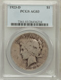Peace Dollars: , 1923-D $1 AG3 PCGS. PCGS Population (2/4483). NGC Census: (0/3004).Mintage: 6,811,000. Numismedia Wsl. Price for problem f...