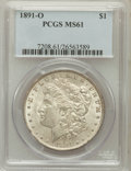 Morgan Dollars: , 1891-O $1 MS61 PCGS. PCGS Population (277/4627). NGC Census:(270/3421). Mintage: 7,954,529. Numismedia Wsl. Price for prob...