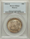 Commemorative Silver: , 1923-S 50C Monroe MS63 PCGS. PCGS Population (1127/1937). NGCCensus: (939/2011). Mintage: 274,077. Numismedia Wsl. Price f...