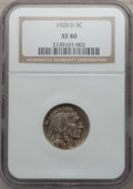 Buffalo Nickels: , 1920-D 5C XF40 NGC. NGC Census: (21/519). PCGS Population (43/603).Mintage: 9,418,000. Numismedia Wsl. Price for problem f...