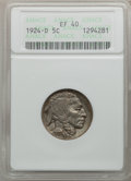 Buffalo Nickels: , 1924-D 5C XF40 ANACS. NGC Census: (16/481). PCGS Population(35/721). Mintage: 5,258,000. Numismedia Wsl. Price for problem...