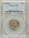Buffalo Nickels: , 1915-D 5C VF35 PCGS. PCGS Population (36/1152). NGC Census:(6/825). Mintage: 7,569,000. Numismedia Wsl. Price for problem ...