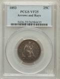 Seated Quarters: , 1853 25C Arrows and Rays VF25 PCGS. PCGS Population (28/1088). NGCCensus: (20/930). Mintage: 15,210,020. Numismedia Wsl. P...