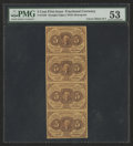Fractional Currency:First Issue, Vertical Strip of Four Fr. 1230 5¢ First Issue PMG About Uncirculated 53.. ...