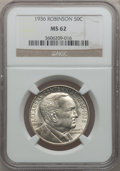 Commemorative Silver: , 1936 50C Robinson MS62 NGC. NGC Census: (80/2443). PCGS Population(153/4225). Mintage: 25,265. Numismedia Wsl. Price for p...