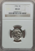 Buffalo Nickels: , 1936 5C MS63 NGC. NGC Census: (110/2414). PCGS Population(191/4279). Mintage: 119,001,424. Numismedia Wsl. Price forprobl...