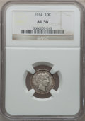 Barber Dimes: , 1914 10C AU58 NGC. NGC Census: (42/674). PCGS Population (47/814).Mintage: 17,360,656. Numismedia Wsl. Price for problem f...