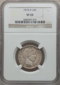 Barber Quarters: , 1910-D 25C VF25 NGC. NGC Census: (1/99). PCGS Population (1/124).Mintage: 1,500,000. Numismedia Wsl. Price for problem fre...