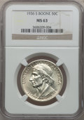 Commemorative Silver: , 1936-S 50C Boone MS63 NGC. NGC Census: (32/824). PCGS Population(124/1086). Mintage: 5,006. Numismedia Wsl. Price for prob...