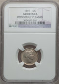 Barber Dimes: , 1897 10C -- Improperly Cleaned -- NGC Details. AU. NGC Census:(2/381). PCGS Population (3/418). Mintage: 10,869,264. Numis...