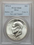 Eisenhower Dollars: , 1972-S $1 Silver MS68 PCGS. PCGS Population (1455/15). NGC Census: (376/4). Mintage: 2,193,056. Numismedia Wsl. Price for p...