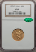 Three Dollar Gold Pieces, 1856-S $3 XF40 NGC. CAC....