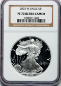 Modern Bullion Coins: , 2003-W $1 One Ounce Silver Eagle PR70 Ultra Cameo NGC. NGC Census:(7618). PCGS Population (1380). Numismedia Wsl. Price f...