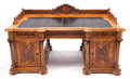 Furniture, VICTORIAN CARVED OAK AND FIGURED WALNUT DOUBLE PEDESTAL DESK. Late 19th century. 31 x 70 x 45 inches (78.7 x 177.8 x 114.3 c... (Total: 3 Items)