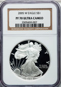 Modern Bullion Coins, 2005-W $1 One Ounce Silver Eagle PR70 Ultra Cameo NGC. NGC Census:(11080). PCGS Population (1642). Numismedia Wsl. Price ...