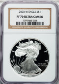 Modern Bullion Coins, 2003-W $1 One Ounce Silver Eagle PR70 Ultra Cameo NGC. NGC Census:(7618). PCGS Population (1380). Numismedia Wsl. Price f...